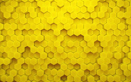 Abstract yellow honeycomb geometric pattern. 3d rendering Stock Photos