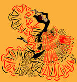 Abstract yellow image of girl flamenco. Abstract yellow background and Spanish dancer in red-black dress royalty free illustration