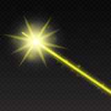 Abstract yellow laser beam. Magic neon light lines  on checkered background. Vector illustration Stock Photography