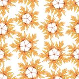 Abstract yellow leaf pattern in the form of a star.Seamless Watercolor abstract pattern on white.Perfect for textile, wallpaper,et vector illustration