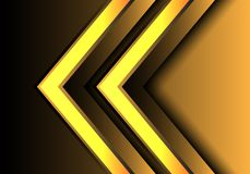 Abstract Yellow light arrow direction 3D design modern futuristic background vector. Illustration royalty free illustration
