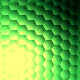 Abstract yellow lights in green hexagons background Stock Image