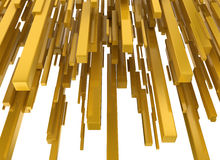 Abstract yellow metallic blocks. Isolated on white background Royalty Free Stock Photos