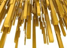 Abstract yellow metallic blocks. Isolated on white background stock illustration