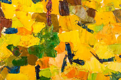 Abstract yellow oil painting on canvas. Stock Image