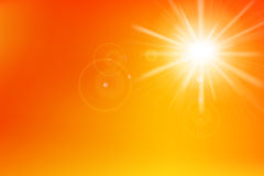 Abstract yellow and orange background with sunlight and flare el Stock Images