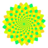 Abstract yellow, orange and green mandala, Flower isolated on white background, Fractal bloom, Esoteric petal mandala Stock Photography