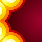 Abstract yellow, orange and red paper round shapes Royalty Free Stock Image