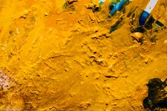 Abstract yellow paint background dried fluid art. Abstract dark yellow paint background. Color effect similar to desert pattern texture. Fluid liquid dried vector illustration