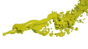 Abstract yellow paint flow on white background.