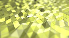 Abstract yellow polygonal surface. 3D rendering. Yellow polygonal background 3D rendering Stock Photo