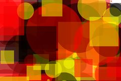 Abstract yellow red grey circles squares illustration background. Abstract minimalist yellow red grey illustration with circles squares useful as a background royalty free illustration