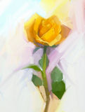 Abstract yellow rose flower with green leaf oil painting Stock Photo
