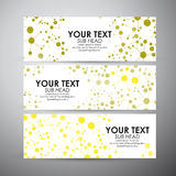 Abstract yellow Science background with molecules. Vector banners set background. Royalty Free Stock Images