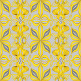 Abstract yellow seamless ornate leaves pattern background Stock Images