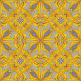 Abstract yellow seamless ornate pattern background Stock Photo