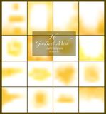 16 abstract yellow smooth blurred gradient mesh vector backgrounds for design. Vector illustration Royalty Free Stock Images