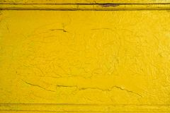 Abstract yellow solid background with cracks in the paint. Texture. Royalty Free Stock Images