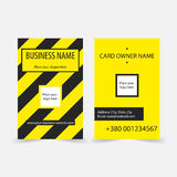 Abstract yellow stripes business cards. Vector techno business card design template for games presentations, ui tablets, smart phones Stock Photos