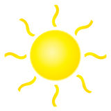 Abstract yellow sun on white background. Royalty Free Stock Images