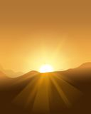 Abstract yellow sunset with defocused lights Stock Photos