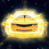 Abstract Yellow Supercar Sunburst Royalty Free Stock Photo