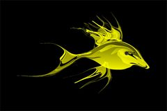 Abstract yellow tonal fish with black Background. Vector Illustration. Wallpaper for many uses for backgrounds or screensaver Royalty Free Stock Image