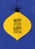 Abstract yellow vector bauble with winter grunge background. Chr. Istmas or New Year greeting card, invitation Stock Images