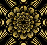 Abstract yellow vector flower patterns in fractal style on black background, high contrasting decorative tile with 3d effect Stock Image