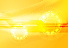 Abstract yellow wavy tech background Stock Images