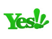 Abstract yes sign. Abstract green yes sign with exclamation marks, white background Royalty Free Stock Images