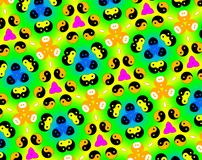 Abstract yin yang faces pattern illustration. Green and yellow. Red and blue. Orange and white. Seamless yin yang faces background pattern. Illustration Stock Image