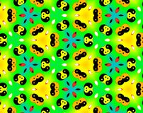 Abstract yin yang faces pattern illustration. Green and yellow. Red and blue. Orange and white. Seamless yin yang faces background pattern. Illustration Royalty Free Stock Images