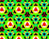 Abstract yin yang faces pattern illustration. Green and yellow. Red and blue. Orange and white. Seamless yin yang faces background pattern. Illustration Royalty Free Stock Photography