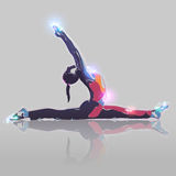 Abstract yoga. Abstract silhouette yoga girl with colorful splatter on white background Stock Image