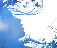 Abstract Young girl face silhouette in profile Royalty Free Stock Image