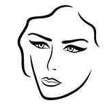 Abstract young lady face. Hand drown vector outline Stock Image