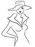 Abstract young lady in hat outline. Abstract sad young lady in jacket and wide-brimmed hat, hand drawing vector outline Royalty Free Stock Images