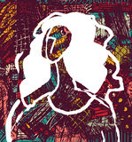 Abstract young woman and art background sketch draw color. Royalty Free Stock Images