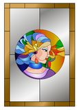 Abstract young woman colorful face stained glass pattern royalty free illustration