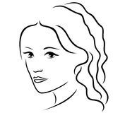 Abstract young women portrait outline Royalty Free Stock Photography
