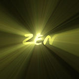 Zen word enlightenment bright light flare. Zen one school of meditation. Mindfulness, well-being, enlightenment background with English word and sunlight halo royalty free illustration