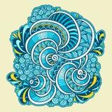 Abstract Zen tangle Zen doodle marine composition blue orange white Stock Images