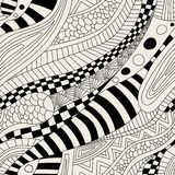 Abstract zentangle doodle waves seamless pattern Royalty Free Stock Images