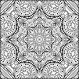 Abstract Zentangle Mandala Style Black And White Ornament Stock Photography