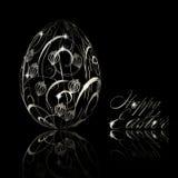 Abstract zilveren paasei op zwarte achtergrond royalty-vrije illustratie