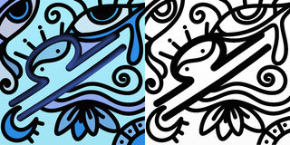 Abstract zodiac sign - Libra. Abstract zodiac sign in color and in black and white - Libra Royalty Free Stock Photos