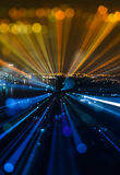 Abstract zoom blur city bokeh lights background Stock Image
