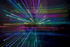 Abstract zoom effects with christmas tree lights. Rainbow royalty free stock photos