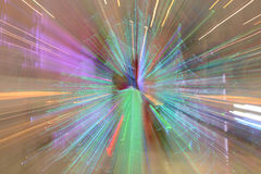 Abstract of zoom in or zoom out long exposure a colorful ribbon. stock photography